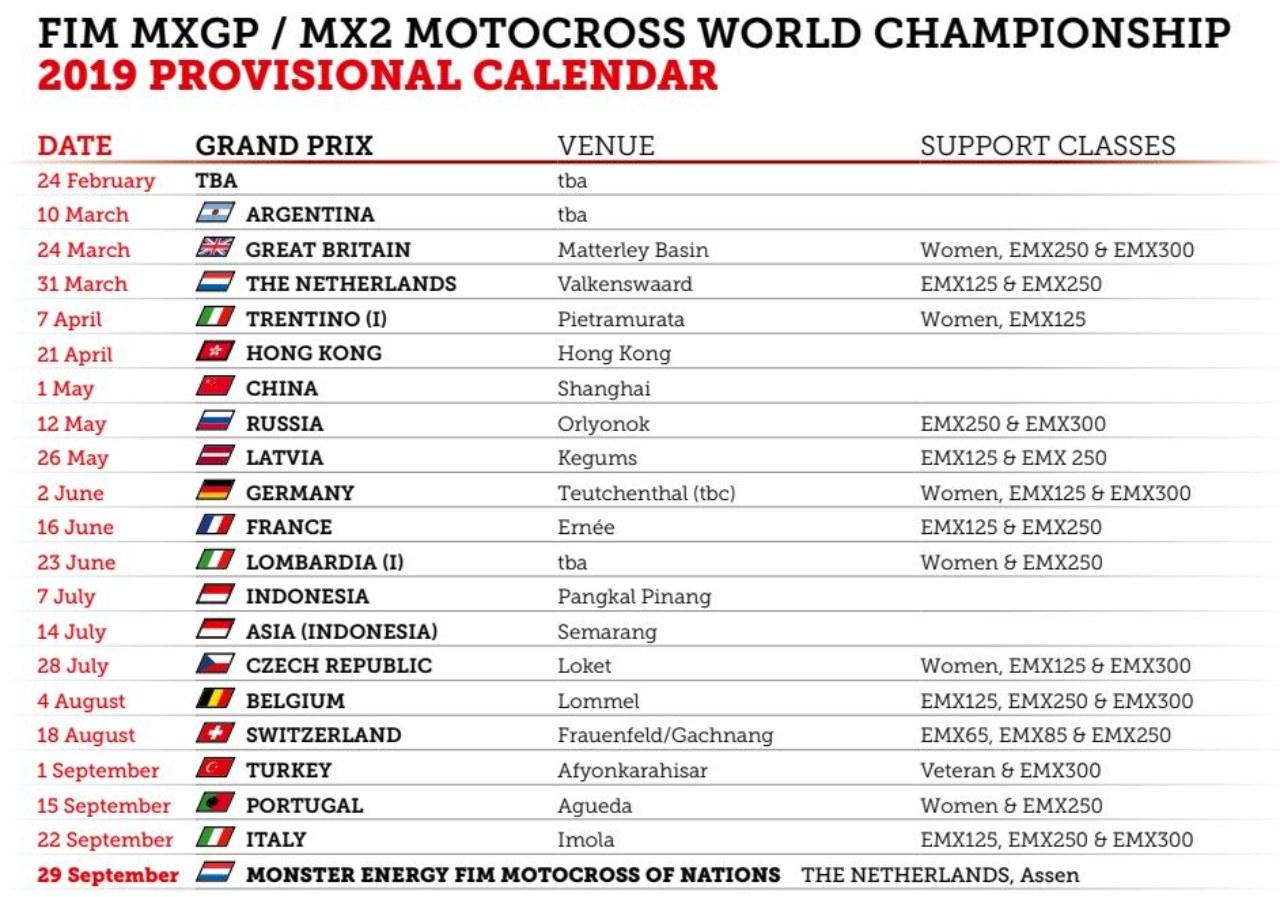 motocross calendario 2019