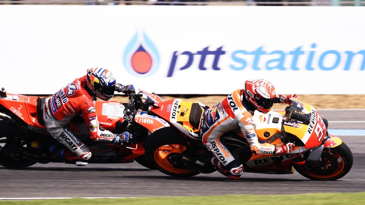 Marc Márquez vs Andrea Dovizioso en el GP de Tailandia