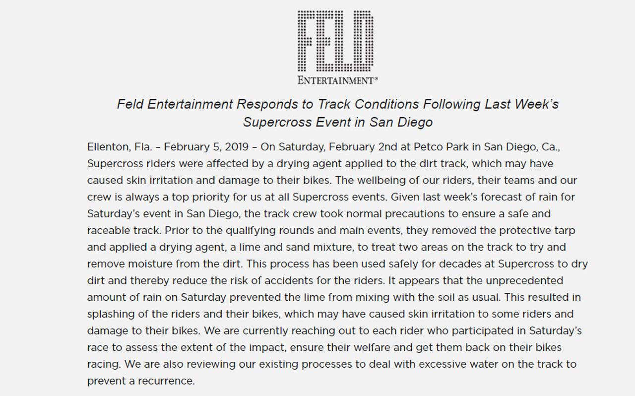 La AMA y Feld Motorsports responden ante lo sucedido en el Supercross de San Diego