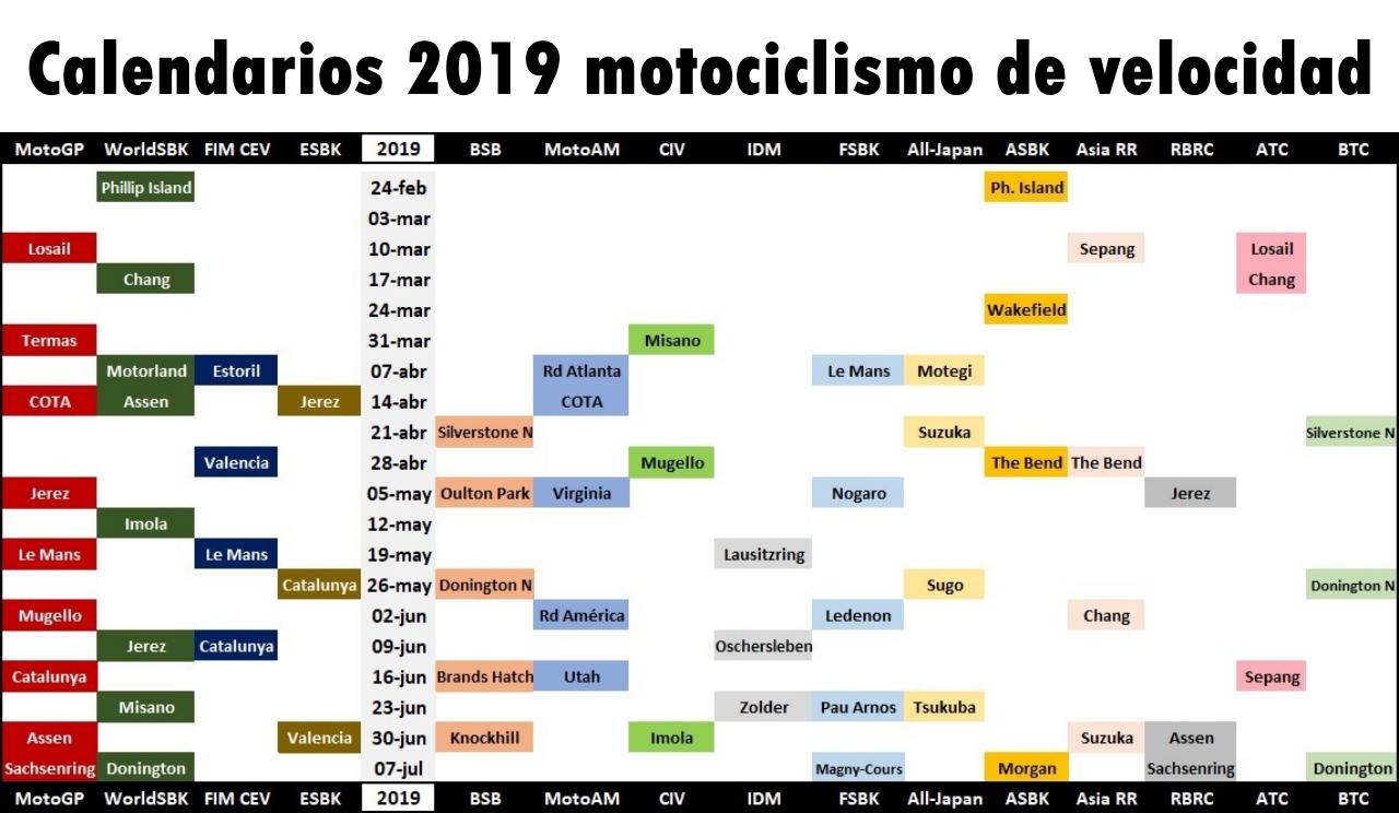 Moto Gp Calendario.Calendarios 2019 Motociclismo De Velocidad Motogp Worldsbk Fim