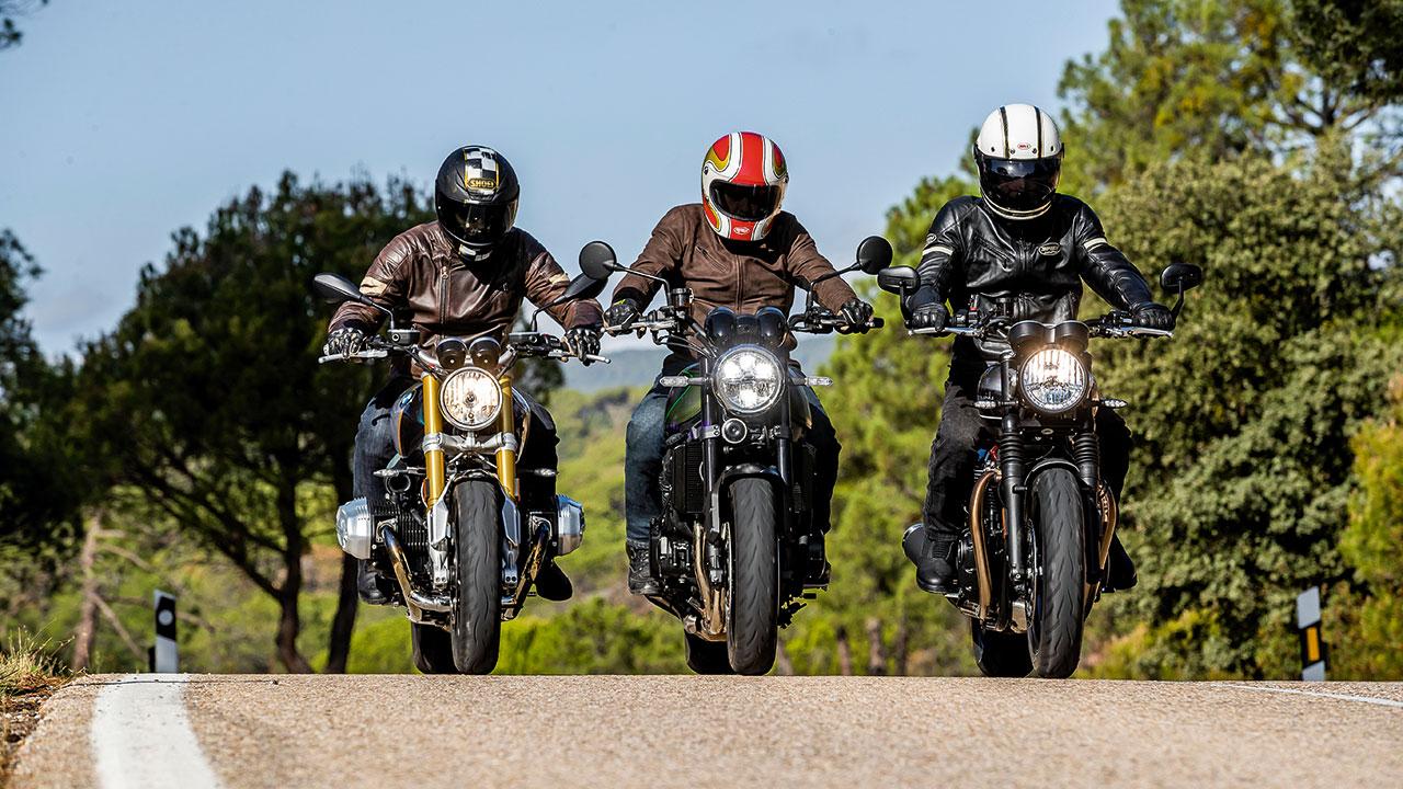Comparativa Maxivintage: BMW R nineT, Kawasaki Z900 RS y Triumph Speed Twin