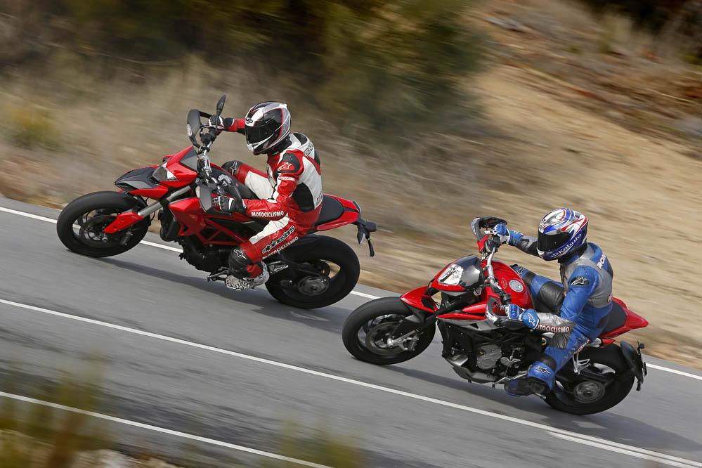 Comparativa Ducati Hypermotard y MV Agusta Rivale 800. Galería de fotos