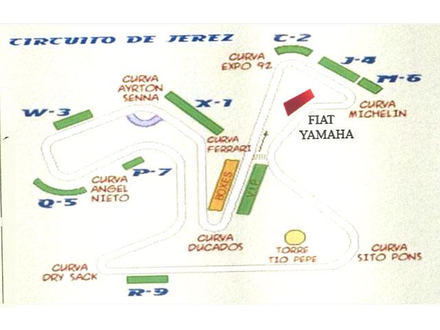 Tribuna Fiat-Yamaha en el GP de Jerez