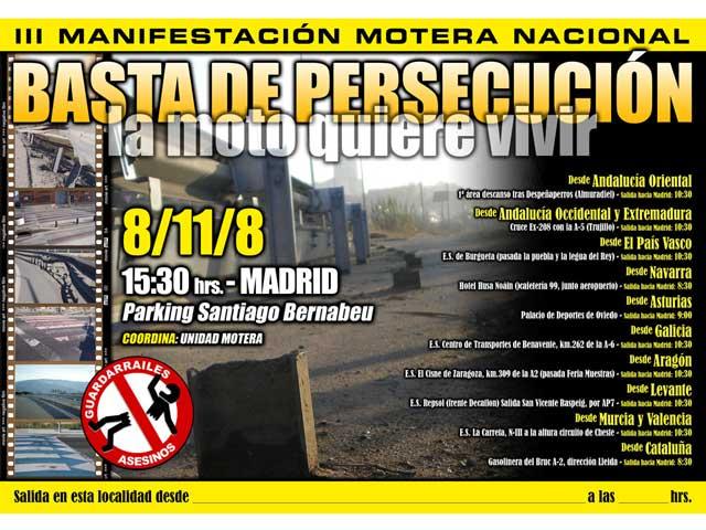 III Manifestación Nacional Motera el 8 de Noviembre