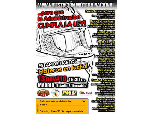 Manifestación Motera Nacional, 13 de noviembre en Madrid