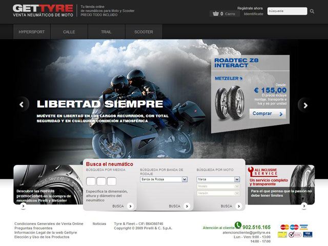 Pirelli moto lanza su primer servicio de venta online, Gettyre.es
