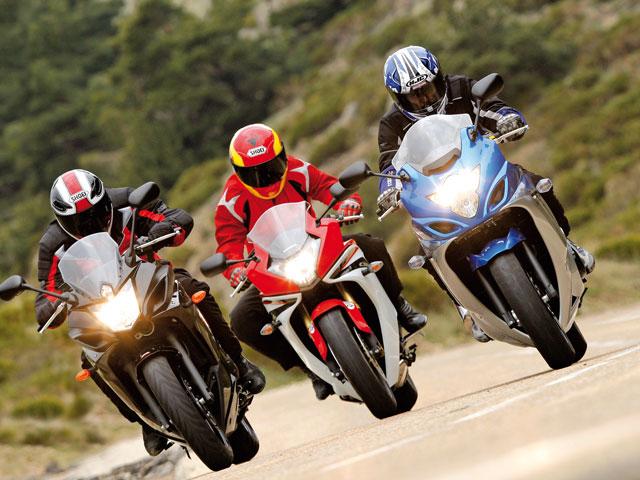 Honda CBR600F C-ABS, Yamaha XJ6 Diversion F ABS y Suzuki GSX650FA