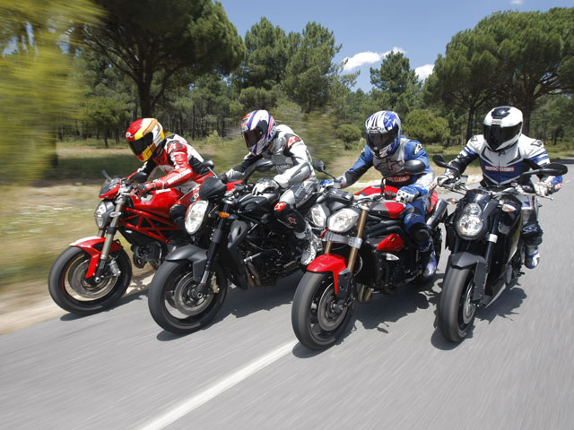 Ducati Monster 1100, MV Agusta Brutale, Triumph Speed Triple y KTM Super Duke