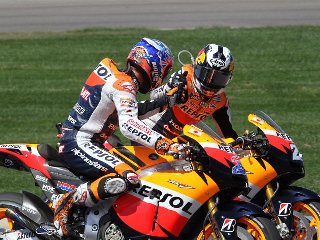 Stoner y Pedrosa tras el GP de Indianapolis
