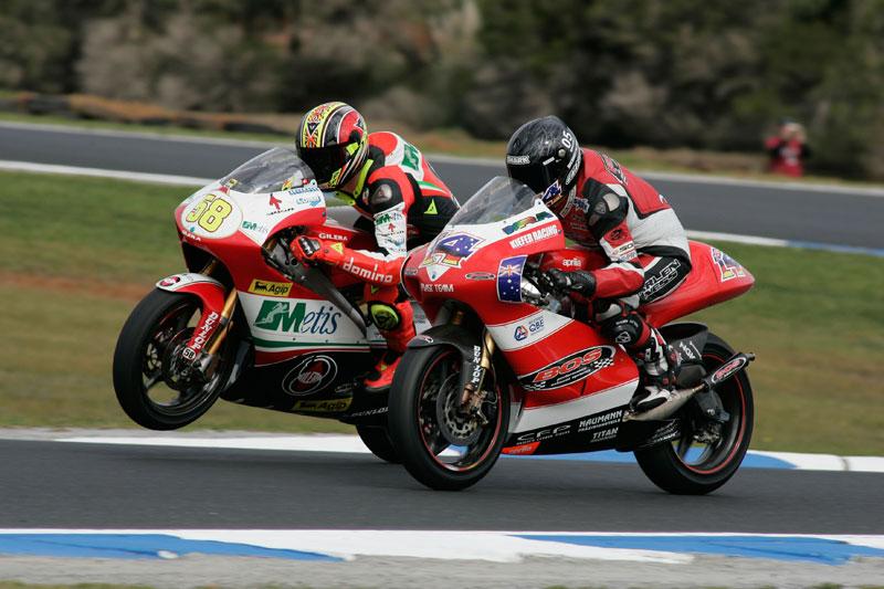 Simoncelli y West, GP Australia 2006. 250 cc