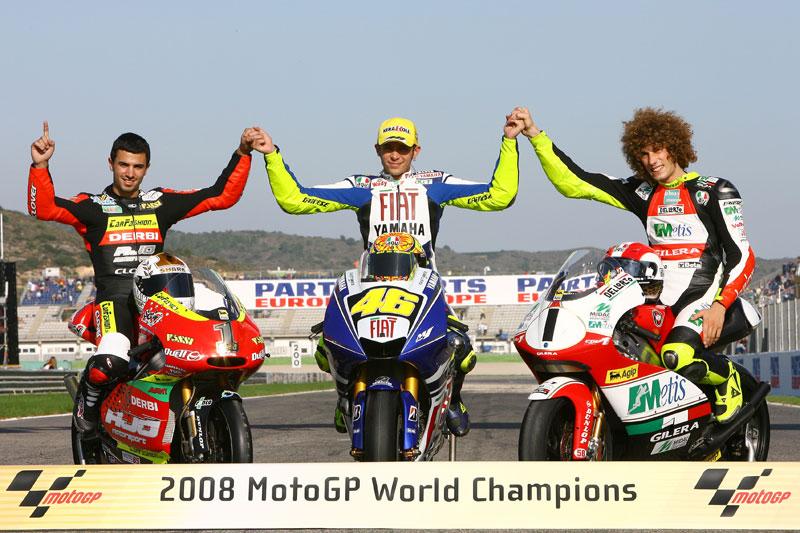 Campeones del Mundo 2008. Di Meglio, Rossi, Simoncelli