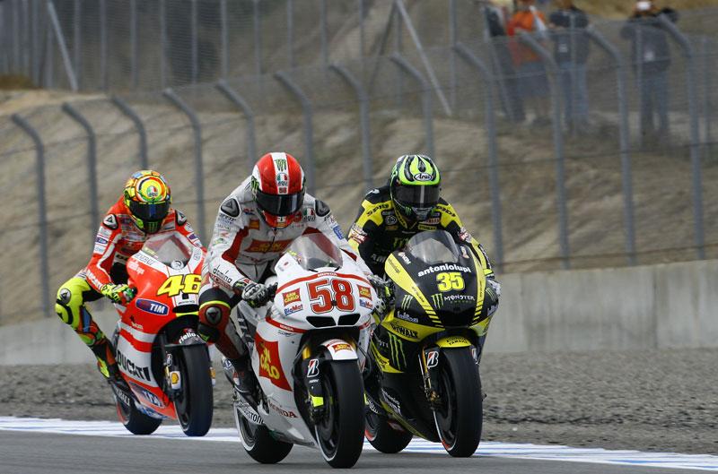 GP EE.UU. 2011. MotoGP. Simoncelli, Edwards, Rossi