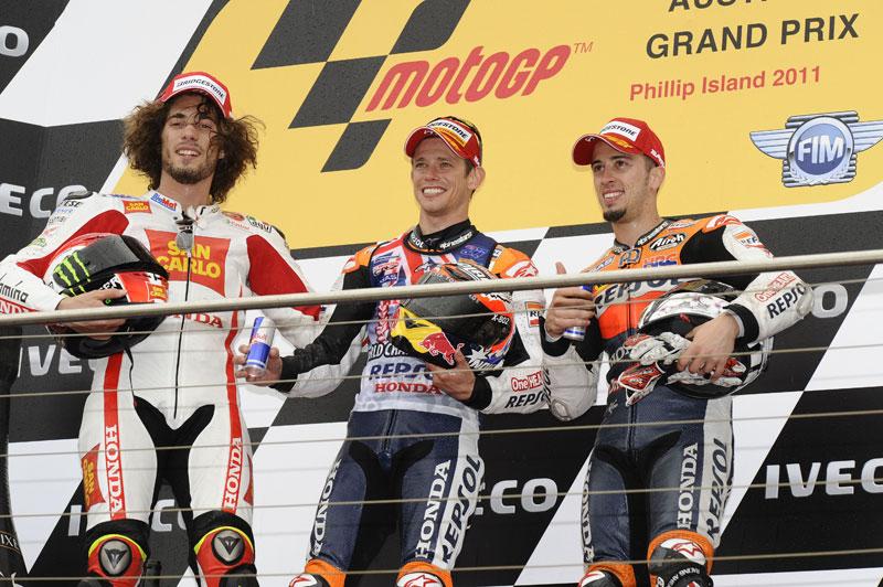 GP Australia 2011. MotoGP. Simoncelli, Stoner, Dovizioso